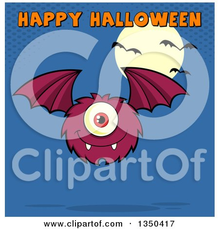 Clipart of a Furry Bat Winged Purple Cyclops Monster Flying with Happy Halloween Text over Blue, a Full Moon and Bats - Royalty Free Vector Illustration by Hit Toon