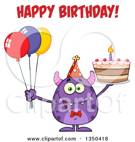 Clipart of a Happy Birthday Greeting over a Purple Horned Monster Holding a Cake and Party Balloons - Royalty Free Vector Illustration by Hit Toon