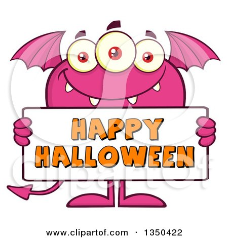 Clipart of a Pink Bat Winged, Fork Tailed Monster Holding a Happy Halloween Sign - Royalty Free Vector Illustration by Hit Toon