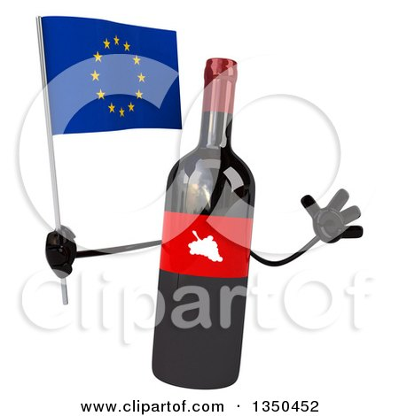 Clipart of a 3d Wine Bottle Mascot Holding a European Flag and Jumping - Royalty Free Illustration by Julos