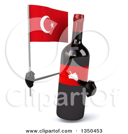 Clipart of a 3d Wine Bottle Mascot Holding a Turkish Flag - Royalty Free Illustration by Julos
