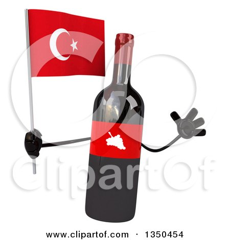 Clipart of a 3d Wine Bottle Mascot Holding a Turkish Flag and Jumping - Royalty Free Illustration by Julos