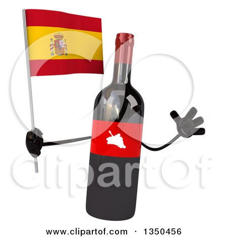 Clipart of a 3d Wine Bottle Mascot Holding a Spanish Flag and Jumping - Royalty Free Illustration by Julos