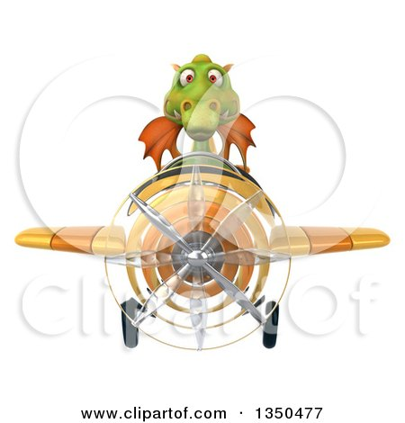 Clipart of a 3d Green Dragon Aviator Pilot Flying a Yellow Airplane - Royalty Free Illustration by Julos
