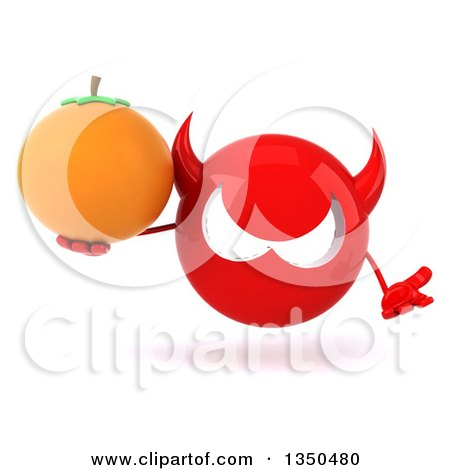 Clipart of a 3d Red Devil Head Holding a Navel Orange and Shrugging - Royalty Free Illustration by Julos