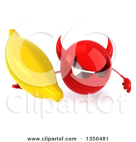 Clipart of a 3d Red Devil Head Holding up a Banana - Royalty Free Illustration by Julos