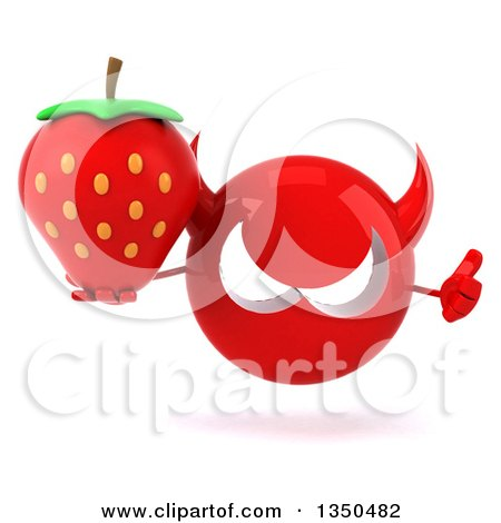 Clipart of a 3d Red Devil Head Holding a Strawberry and Giving a Thumb up - Royalty Free Illustration by Julos