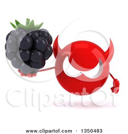 Clipart of a 3d Red Devil Head Holding a Blackberry - Royalty Free Illustration by Julos