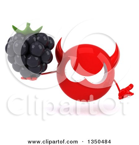 Clipart of a 3d Red Devil Head Holding a Blackberry and Shrugging - Royalty Free Illustration by Julos