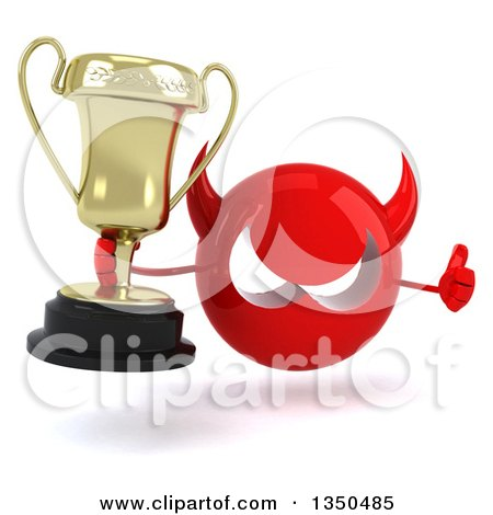 Clipart of a 3d Red Devil Head Holding a Trophy and Giving a Thumb up - Royalty Free Illustration by Julos