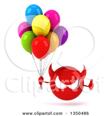 Clipart of a 3d Red Devil Head Holding Party Balloons and Giving a Thumb up - Royalty Free Illustration by Julos