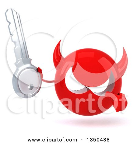 Clipart of a 3d Red Devil Head Holding and Pointing to a Key - Royalty Free Illustration by Julos