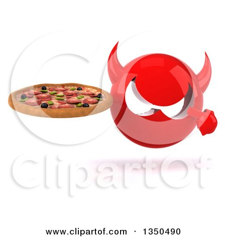 Clipart of a 3d Red Devil Head Holding and Pointing to a Pizza - Royalty Free Illustration by Julos