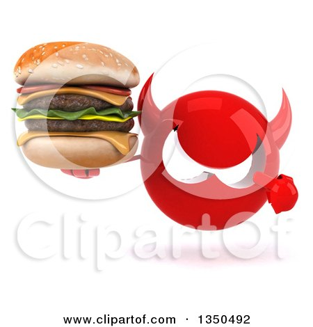 Clipart of a 3d Red Devil Head Holding and Pointing to a Double Cheeseburger - Royalty Free Illustration by Julos