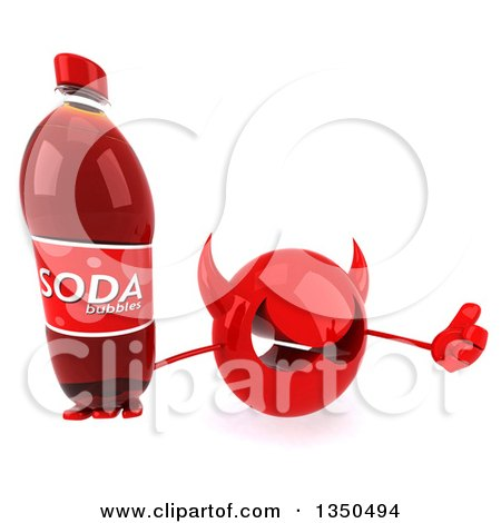 Clipart of a 3d Red Devil Head Holding up a Thumb and Soda Bottle - Royalty Free Illustration by Julos