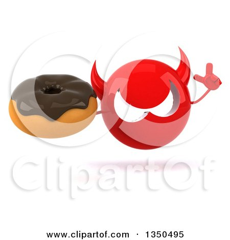 Clipart of a 3d Red Devil Head Holding up a Finger and Chocolate Glazed Donut - Royalty Free Illustration by Julos