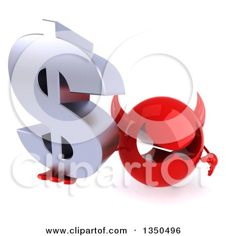 Clipart of a 3d Red Devil Head Holding up a Dollar Currency Symbol - Royalty Free Illustration by Julos