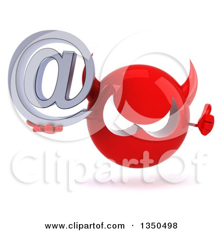 Clipart of a 3d Red Devil Head Holding an Email Arobase at Symbol and Giving a Thumb up - Royalty Free Illustration by Julos