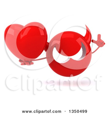 Clipart of a 3d Red Devil Head Holding up a Finger and a Love Heart - Royalty Free Illustration by Julos