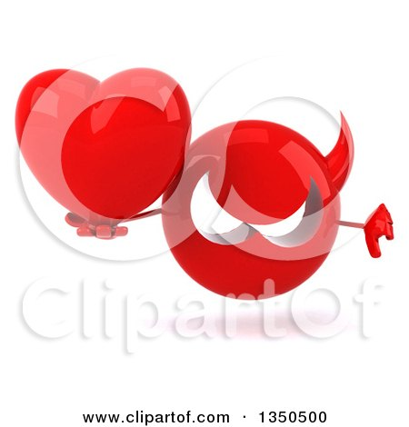 Clipart of a 3d Red Devil Head Holding a Love Heart and Giving a Thumb down - Royalty Free Illustration by Julos