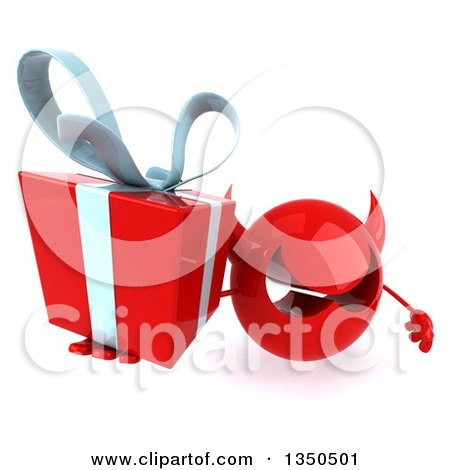 Clipart of a 3d Red Devil Head Holding up a Gift - Royalty Free Illustration by Julos