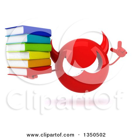 Clipart of a 3d Red Devil Head Holding up a Finger and Stack of Books - Royalty Free Illustration by Julos
