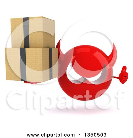 Clipart of a 3d Red Devil Head Giving a Thumb up and Holding Boxes - Royalty Free Illustration by Julos