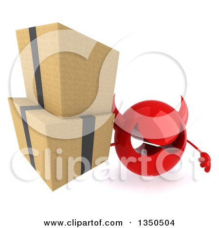 Clipart of a 3d Red Devil Head Holding up Boxes - Royalty Free Illustration by Julos