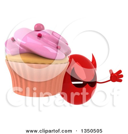 Clipart of a 3d Red Devil Head Holding a Cupcake and Jumping - Royalty Free Illustration by Julos