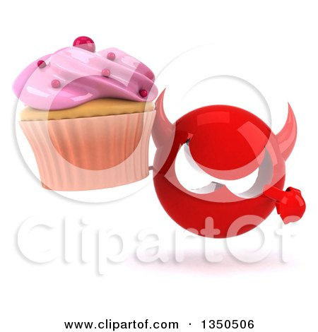 Clipart of a 3d Red Devil Head Holding and Pointing to a Cupcake - Royalty Free Illustration by Julos