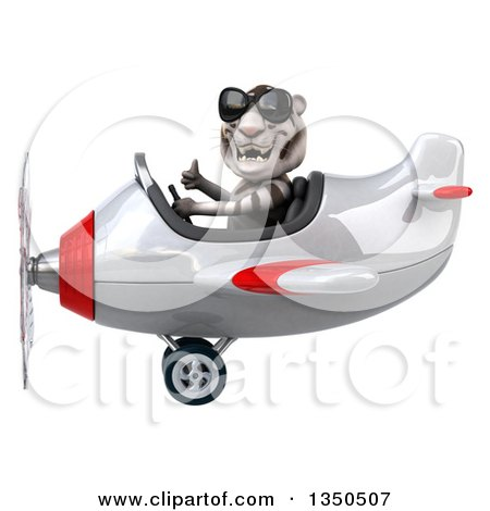 Clipart of a 3d White Tiger Aviator Pilot Wearing Sunglasses, Giving a Thumb up and Flying a White and Red Airplane to the Left - Royalty Free Illustration by Julos
