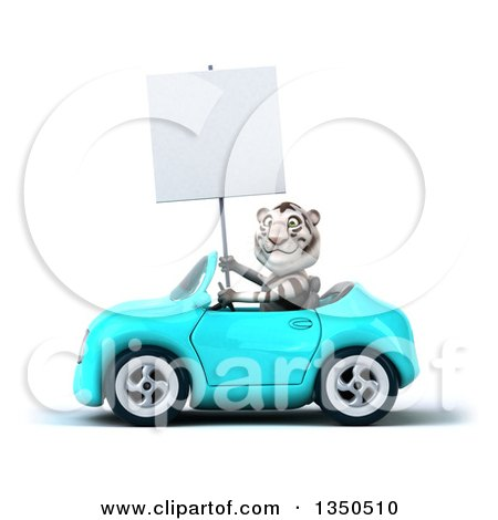 Clipart of a 3d White Tiger Holding a Blank Sign and Driving a Light Blue Convertible Car to the Left - Royalty Free Illustration by Julos