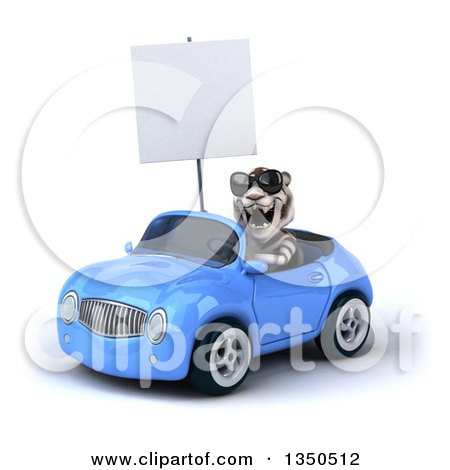 Clipart of a 3d White Tiger Wearing Sunglasses, Holding a Blank Sign and Driving a Blue Convertible Car to the Left - Royalty Free Illustration by Julos