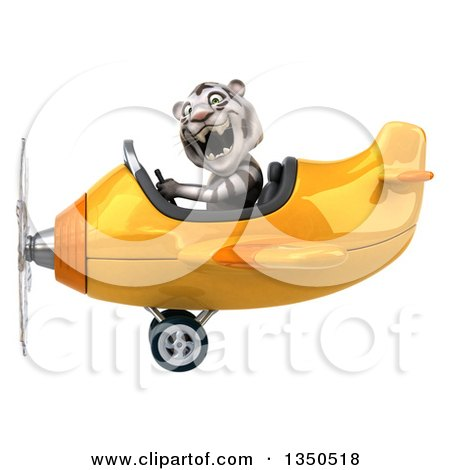 Clipart of a 3d White Tiger Aviator Pilot Flying a Yellow Airplane to the Left - Royalty Free Illustration by Julos
