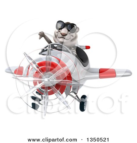Clipart of a 3d White Tiger Aviator Pilot Wearing Sunglasses, Giving a Thumb down and Flying a White and Red Airplane - Royalty Free Illustration by Julos