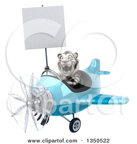 Clipart of a 3d White Tiger Aviator Pilot Holding a Blank Sign and Flying a Blue Airplane to the Left - Royalty Free Illustration by Julos