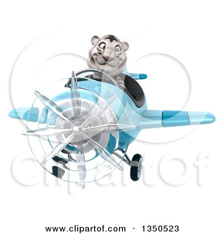 Clipart of a 3d White Tiger Aviator Pilot Flying a Blue Airplane - Royalty Free Illustration by Julos