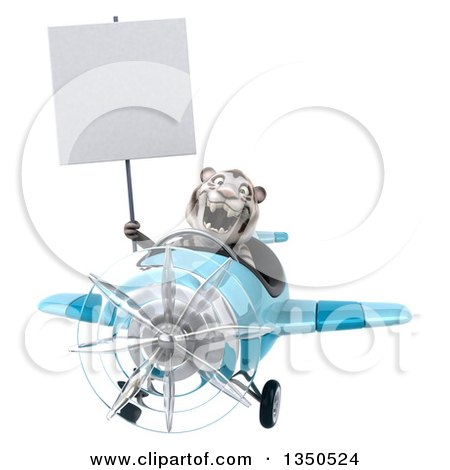 Clipart of a 3d White Tiger Aviator Pilot Holding a Blank Sign and Flying a Blue Airplane - Royalty Free Illustration by Julos