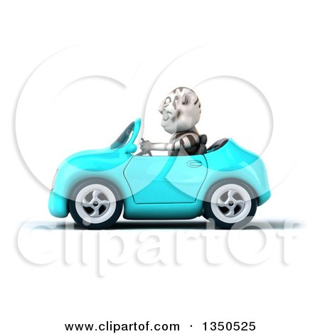Clipart of a 3d White Tiger Driving a Light Blue Convertible Car to the Left - Royalty Free Illustration by Julos