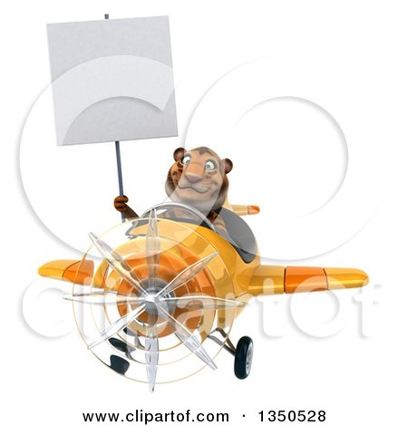 Clipart of a 3d Tiger Aviator Pilot Holding a Blank Sign and Flying a Yellow Airplane - Royalty Free Illustration by Julos