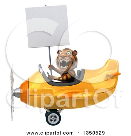 Clipart of a 3d Tiger Aviator Pilot Holding a Blank Sign and Flying a Yellow Airplane to the Left - Royalty Free Illustration by Julos