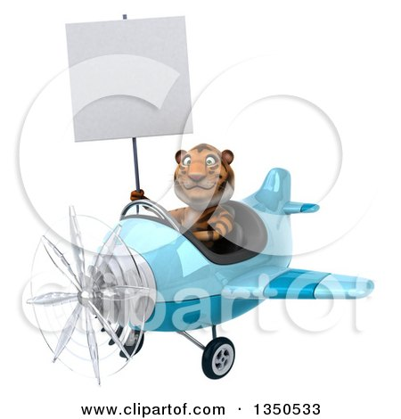 Clipart of a 3d Tiger Aviator Pilot Holding a Blank Sign and Flying a Blue Airplane to the Left - Royalty Free Illustration by Julos