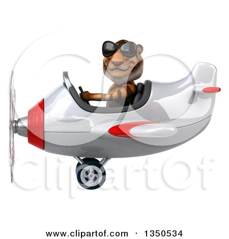 Clipart of a 3d Tiger Aviator Pilot Wearing Sunglasses and Flying a White and Red Airplane to the Left - Royalty Free Illustration by Julos