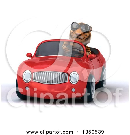 Clipart of a 3d Tiger Wearing Sunglasses and Driving a Red Convertible Car - Royalty Free Illustration by Julos