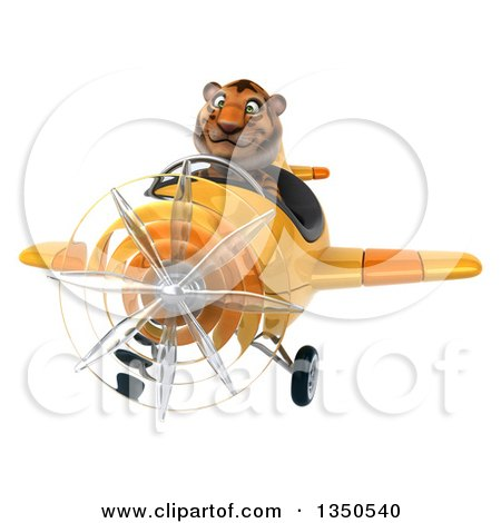 Clipart of a 3d Tiger Aviator Pilot Flying a Yellow Airplane - Royalty Free Illustration by Julos