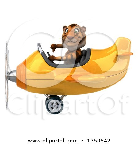 Clipart of a 3d Tiger Aviator Pilot Giving a Thumb down and Flying a Yellow Airplane to the Left - Royalty Free Illustration by Julos