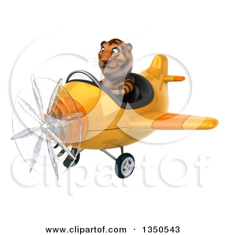 Clipart of a 3d Tiger Aviator Pilot Flying a Yellow Airplane to the Left - Royalty Free Illustration by Julos