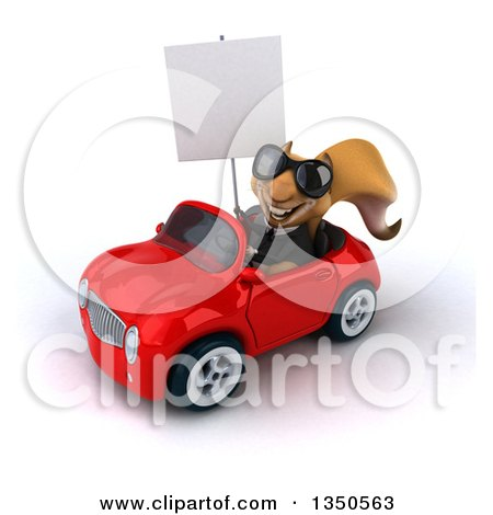 Clipart of a 3d Business Squirrel Wearing Sunglasses, Holding a Blank Sign and Driving a Red Convertible Car to the Left - Royalty Free Illustration by Julos