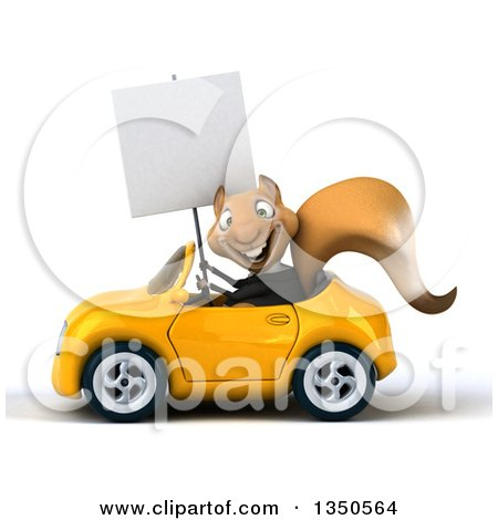 Clipart of a 3d Business Squirrel Holding a Blank Sign and Driving a Yellow Convertible Car to the Left - Royalty Free Illustration by Julos