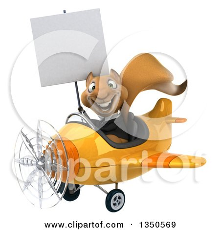 Clipart of a 3d Business Squirrel Aviator Pilot Holding a Blank Sign and Flying a Yellow Airplane to the Left - Royalty Free Illustration by Julos